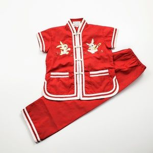 Asian Two Piece Outfit Mandarin Collar Kid Costume